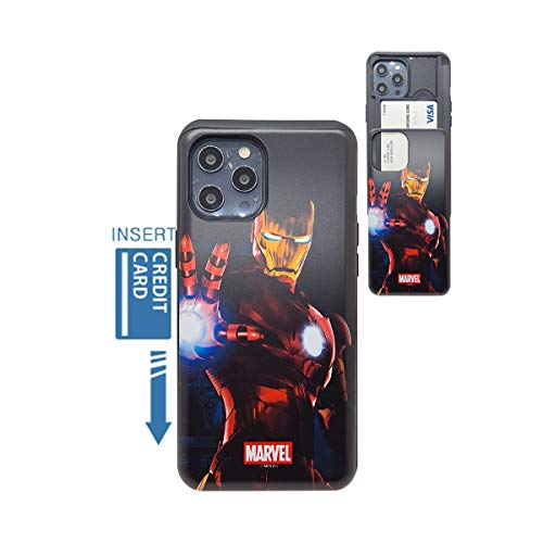 [iPhone 12 Pro Max Wallet Case] KUBRICK Card Holder Slide Cover Bumper Phone Case Dual Layer Protection Super Heroes UV Printing (Ironman Mark 5)