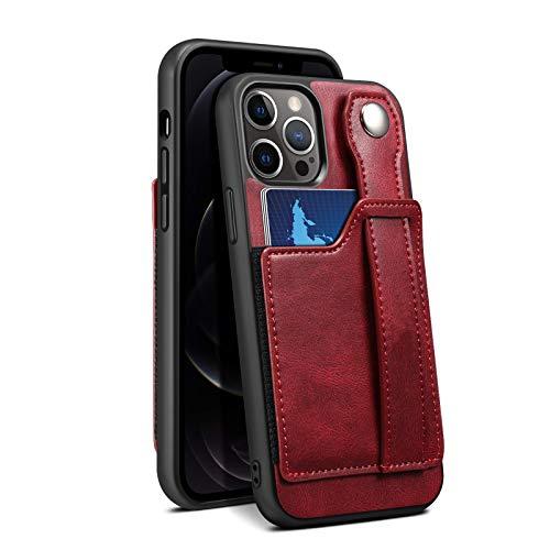 HHZY Funda Compatible con iPhone 12 Pro MAX Carcasa de Cartera de Cuero Premium con Ranuras para Tarjetas Pulsera Suave TPU Antigolpes Back Cover,Rojo,12 Pro MAX