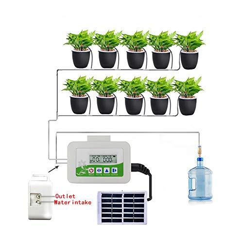 Moontie Sistema de riego automático por goteo, temporizador con energía solar, kit de riego por goteo con boquilla ajustable, sistema de riego para plantas de jardín