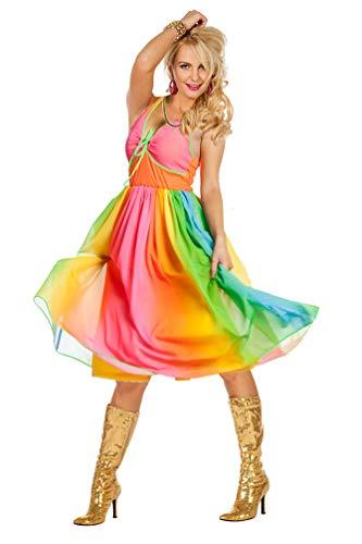 Karneval-Klamotten Schlager Disco Kostüm Damen 70er 80er Jahre Regenbogen Schlagermove Disco-Fever Damenkostüm