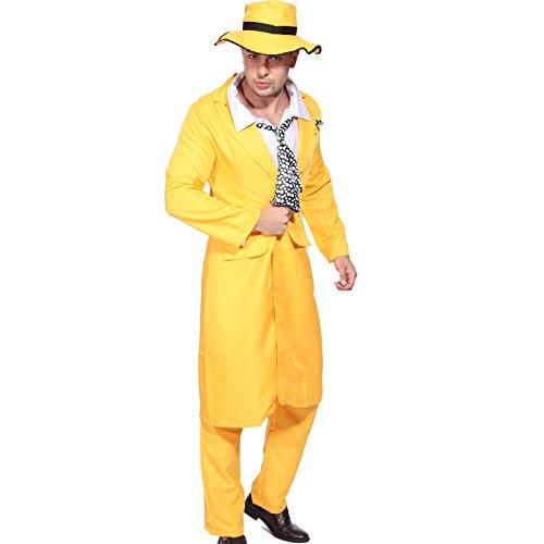 Anladia Disfraz de gnster de Halloween para hombre, color amarillo