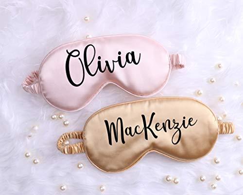 Máscara de dormir de satén personalizada, despedida de soltera de boda, fiesta de novia, nombre personalizado quinceañera dulce regalo 16