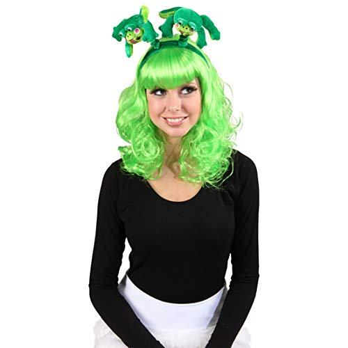 Divertido arreglo para el Cabello con Ranas para Mujer/Verde/Llamativo Accesorio para Traje de Cuento de Hadas para Dama/Apropiado para Eventos de Invierno y carnavales