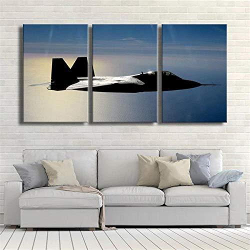 ADKMC Quadro Quadri Moderni AEROMOBILI Militari Lone Raptor F 22 Soggiorno Stampa su Tela con Telaio 3 Pezzi