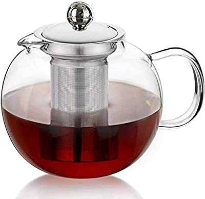 Glass Teapot with Removable Infuser & Blooming and Loose Leaf, Iced Tea Maker & Brewer Teapot with Infuser forLoose Leaf Tea Maker Set (28oz)