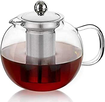 Glass Teapot with Removable Infuser & Blooming and Loose Leaf Iced Tea Maker & Brewer Teapot with Infuser forLoose Leaf Tea Maker Set  21oz