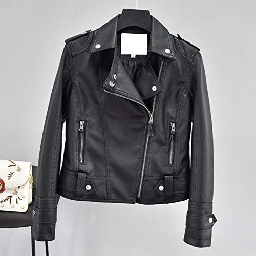 TIKEHAN PU DamenjackeAutumn Women Short Faux Leather Jacket Slim Punk Outwear Motorcycle Leather Jackets Casual PU Coat