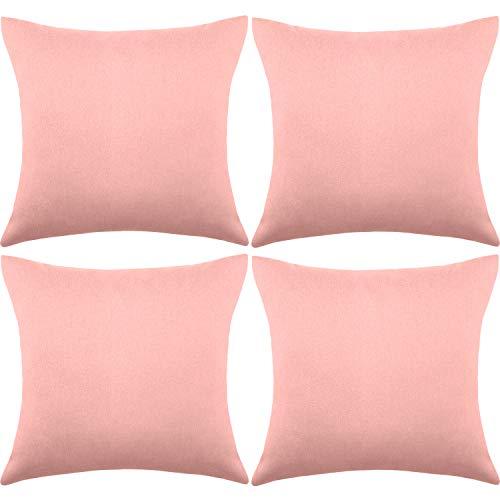 4 Funda de Almohada Decorativa Impermeable de Exterior Patio Balcón, Funda de Cojín Cuadrada de Jardín, Funda de Revestimiento PU para Sofá Cama Patio Tienda Balcón, 18 x 18 Pulgadas (Rosa)