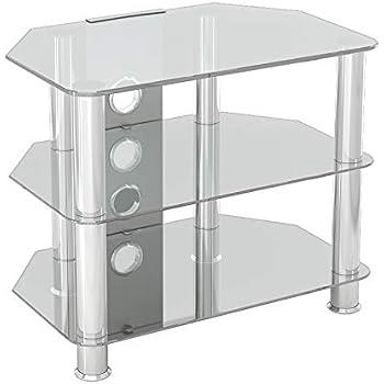 King Mueble TV Cristal Transprente,3 Estantes, Televisores Curvos LCD LED OLED, Ancho 60 cm: Amazon.es: Electrónica