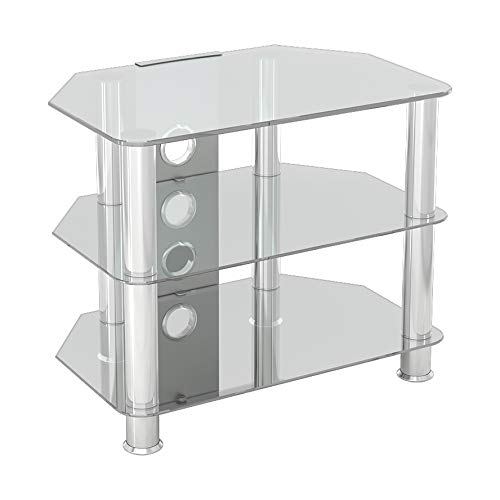 """King Glass TV Stand for HD LED LCD 4K 8K QLED TVs up to 32"""" inch by TV Furniture Direct (60cm, Clear Glass, Chrome Leg)"""