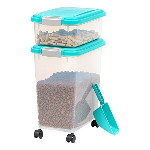 IRIS USA 3-Piece Airtight Pet Food Storage Container Combo with Scoop and Treat Box for Pet, Dog, Cat, and Bird Food, Sea Foam Blue