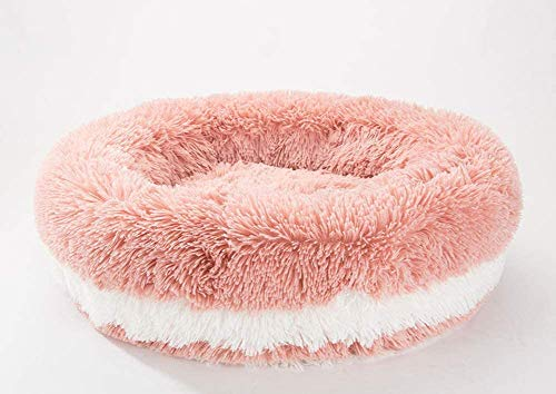 WSJYP Dog Bed Warm Calming Pet Cat Sofa, Round Donut Nesting Cave Bed Comfortable Kennel Luxurious Cozy Pet Basket, Small Medium Pet,M- 56cm-pink