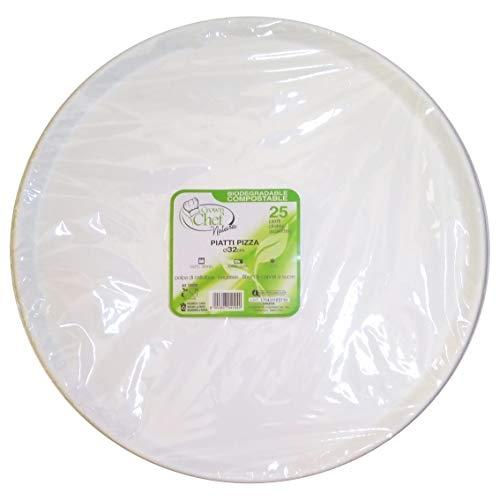 CROWN 25 Piatti Pizza Ø 32 cm.Piani in polpa cellulosa bio 100% compostabile Umido Robusto 33,7 Grammi en 13432
