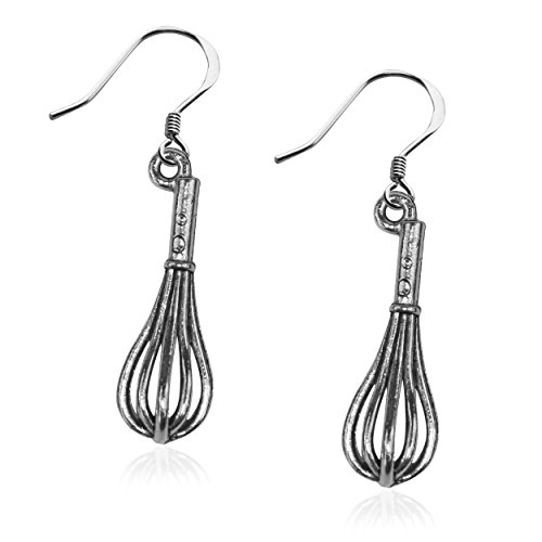 Whimsical Gifts Chef Charm Earrings (Whisk, Silver)