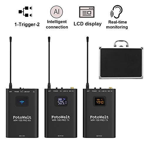 fotowelt UHF Professional Wireless Lavalier Microphone System Full Metal Compatible for Canon Nikon Sony Panasonic DSLR Camera,XLR camcorder & Smartphone (2TX+1RX)