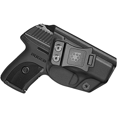 Amberide IWB KYDEX Holster Fit: Ruger LC9 / LC9s / Ruger LC380 / Ruger EC9s Pistol | Inside Waistband | Adjustable Cant | US KYDEX Made (Black, Right Hand Draw (IWB))