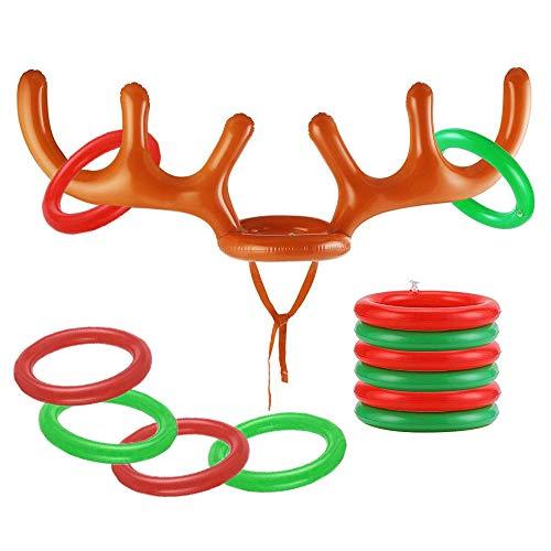 THE TWIDDLERS 13 Piezas Juego de Fiesta de Navidad para Niños y Adultos| 1 Hinchable de Cuerno de Reno y 12 Aros| Divertidos Juegos de Navidad para Jugar con Amigos y Familiares.