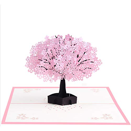 Pop Up Greeting Card 3D Cherry Blossom Card Pink Flowers Handmade Greeting Card for Valentine�s Day, Anniversary, Birthday, Wedding, Mother�s Day