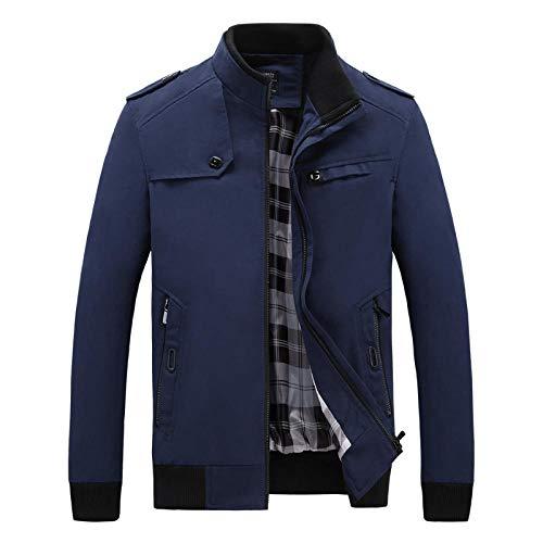 YJWSPD Chaqueta de moda Chaqueta de otoño para hombre Chaqueta casual de manga larga delgada de invierno Chaqueta de hombre casual-blue_M