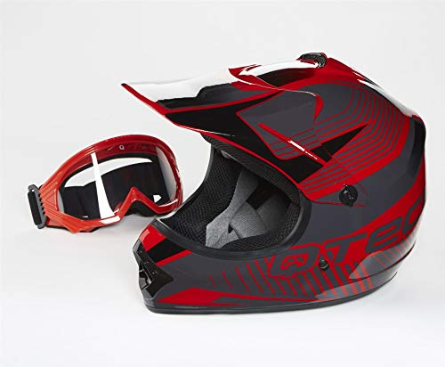 55-56 cm S f/ür Offroad//Enduro//Touring Sport Qtech Motocross-Helm mit Visier Rot
