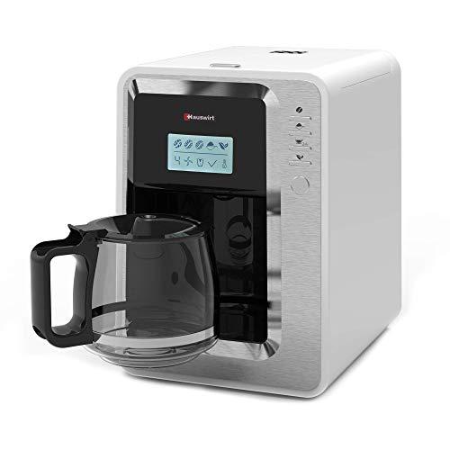 Hauswirt Kaffeemaschine, Kaffeevollautomat 3 Mahlgrade, Warmhalteplatte & Abschaltautomatik, Abnehmbarer Wassertank, Filterkaffeemaschine mit Glaskanne für 2-6 Tassen