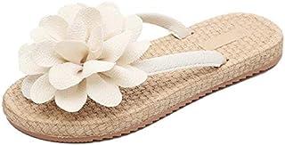 CHENDX New Summer Women's Sandals Non-Slip Straw Bottom Flat Slippers Casual Beach Flowers Slippers
