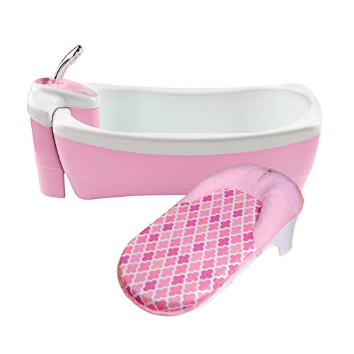 Summer Lil Luxuries Whirlpool Bubbling Spa & Shower (Pink) – Luxurious Baby Bathtub with Circulating Water Jets – Includes Deluxe Newborn Sling and Clean Rinse Spa/Shower Unit