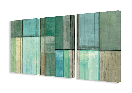 The Stupell Home Decor Collection Blue and Green Abstract Art on Canvas, Set of 3