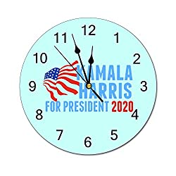 Tian Smile Kamala Harris for President 2020 10 inch Wall Clock, Silent, Graduated Battery Power, Suitable for Home Office and School use