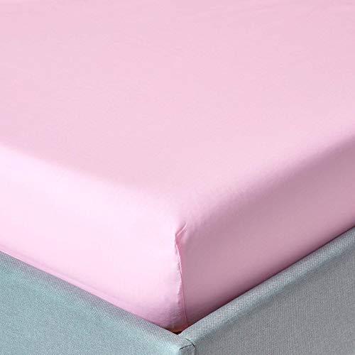 Homescapes Drap Housse de, Couleur Rose, de 90 x 190 cm en Pur Coton d'Egypte (qualité Percale 80 Fils/cm²)