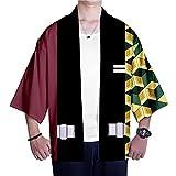 MIAOML Hombre Camisa Kimono Estilo Japonés Estampado Holgado Manga 3/4 Cardigan Chaqueta Capa Ropa Casual Abrigo Camisetas Cuello Mao Vintage Blusa T-Shirt Top,A-XS
