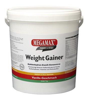 MEGAMAX - Weight Gainer - Suplemento para Ganar Peso y Masa Muscular - Vainilla - Solo un 0,5% de Grasa - 7 kg