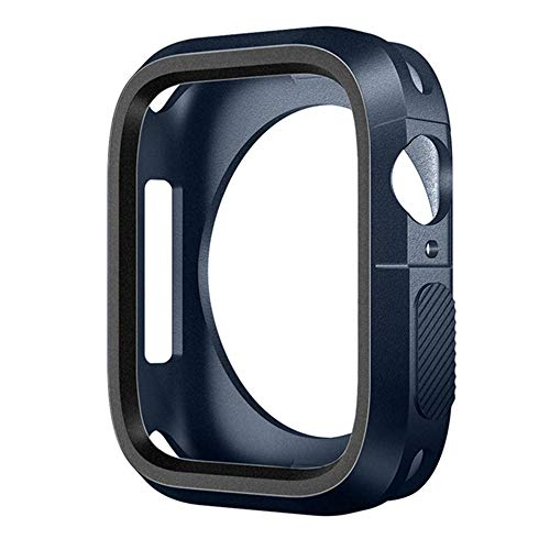 LLMXFC Silicone Cover For IWatch 5 Case 44mm 40mm For IWatch Case 42mm/38mm Bumper Protector For Apple Watch Series 3 4 2 Accessories 44 (Color : Blue Black, Dial Diameter : 40mm series 5 4)