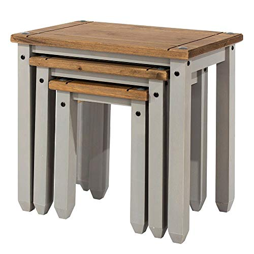 Core Products Corona Nest of Tables Distressed Waxed Pine Finish, Wood, Grey, W530 x D350 x H511mm