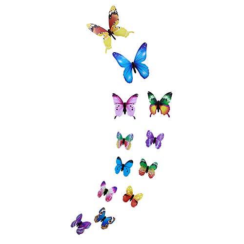 Janly Clearance Sale 12 pegatinas de pared con diseño de mariposa luminosa, decoración magnética para el hogar, para el día de Pascua (multicolor)