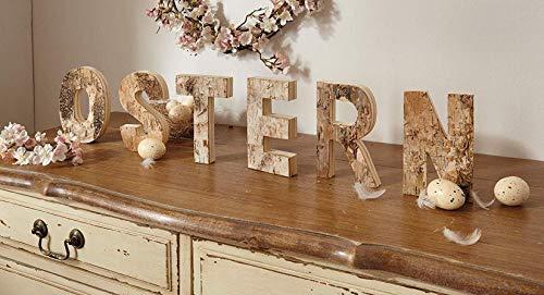 """Schriftzug """"Ostern"""" aus Holz, mit Birken-Rinde, 6 Deko-Buchstaben für Flur, Fenster oder Tisch"""