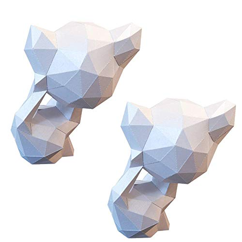 Corlidea Papercraft DIY 3D Papier Tiere Wanddeko Papercraft Building Kit Origami Papier Modell Ornament DIY Spielzeug für Kinder Kleinkinder Geschenke Männer Frauen (2 Stück Katze 14 × 12 × 22 cm)