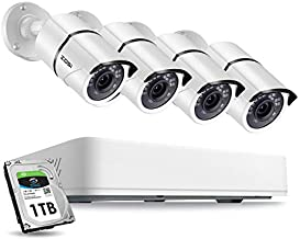 ZOSI 8CH 5MP 2K+ HD Security Cameras System Outdoor with 1TB Hard Drive,H.265+ 8 Channel Full 5MP Surveillance DVR Recorder ,4x Wired 5MP Weatherproof CCTV Cameras,120ft Night Vision,Remote Access
