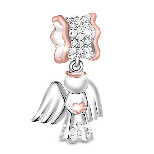 GNOCE Heart Angel Charm 925 Sterling Silver Angel of Love Charms for Women Fit All Bracelets Gift for her