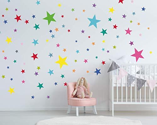 50 Sterne Wandtattoo fürs Kinderzimmer - Wandsticker Set - Pastell Farben, Baby Sternenhimmel zum Kleben Wandaufkleber Sticker Wanddeko - Kleinkinder, Erstausstattung auf Rauhfaser, Bunt