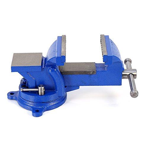 Tornillo de banco robusto de hierro fundido de 100 mm, tornillo de mesa con 100 mm de envergadura, banco de trabajo con dos agujeros de bloqueo para banco de trabajo, giratorio 360°