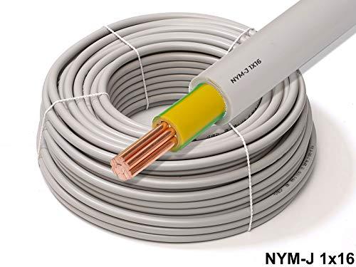 25 Meter - 1x16mm² Blitzschutz Erdungskabel - XmediaSat NYM-J 1x 16mm² grau
