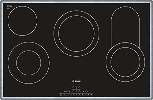 Bosch PKC845F17 Plaque de cuisson encastrable 4 foyers (écran intégré, zone de cuisson céramique, surface vitrocéramique, commandes tactiles, position frontale des commandes) Noir