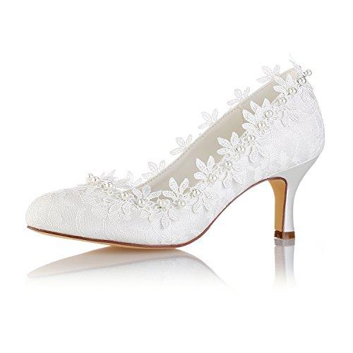 Emily Bridal  Vintage Hochzeit Schuhe  Round Toe Perlen Blumen Kitten Heel Brautschuhe, 38 EU, Elfenbein