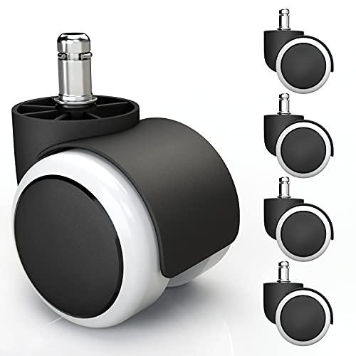 5x Hartbodenrollen 11mm mit PVC Überzug leise & kratzerfrei - Universal Schreibtischstuhl Bürostuhl Rollen ideal für Parkett, Laminat, Fliesen & Steinboden (Weiß)