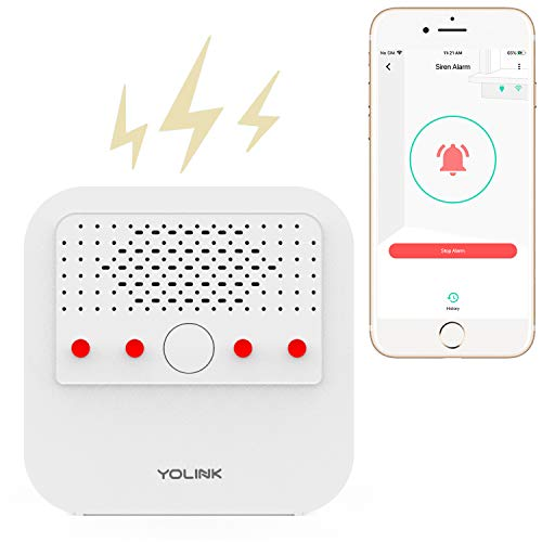 Smart Siren Alarm, LOUD 110 dB Sounder, Wireless Alarm for Home Security/Intrusion/Burglar Alarm, Panic Alarm, Audible Alerts, Remote Control, Works with Alexa, Google Assistant, IFTTT - Hub Required