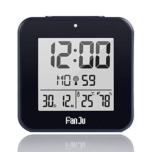 NXSP Radio Controlled Time Digitale Wandklok, Met Temperatuur Thermometer Vochtigheid Hygrometer/Decoratieve Tafel Alarm Klok