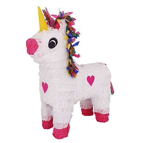 Lytio Unicorn Pinatas for Birthday Party Full White with Multi Color Hair and Pink Heart Details