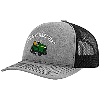 Custom Richardson Trucker Hat Riding Lawn Mower C Embroidery Business Name Polyester Baseball Mesh Cap - Heather Gray/Black Personalized Text Here