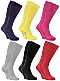 Rainbow Socks - Mujer Los Calcetines Largos Calados Finos de Algodón - 6 Pares - Violeta, Amarillo, Rosa, Gris, Azul Marino, Rojo - Tamaños 39-41